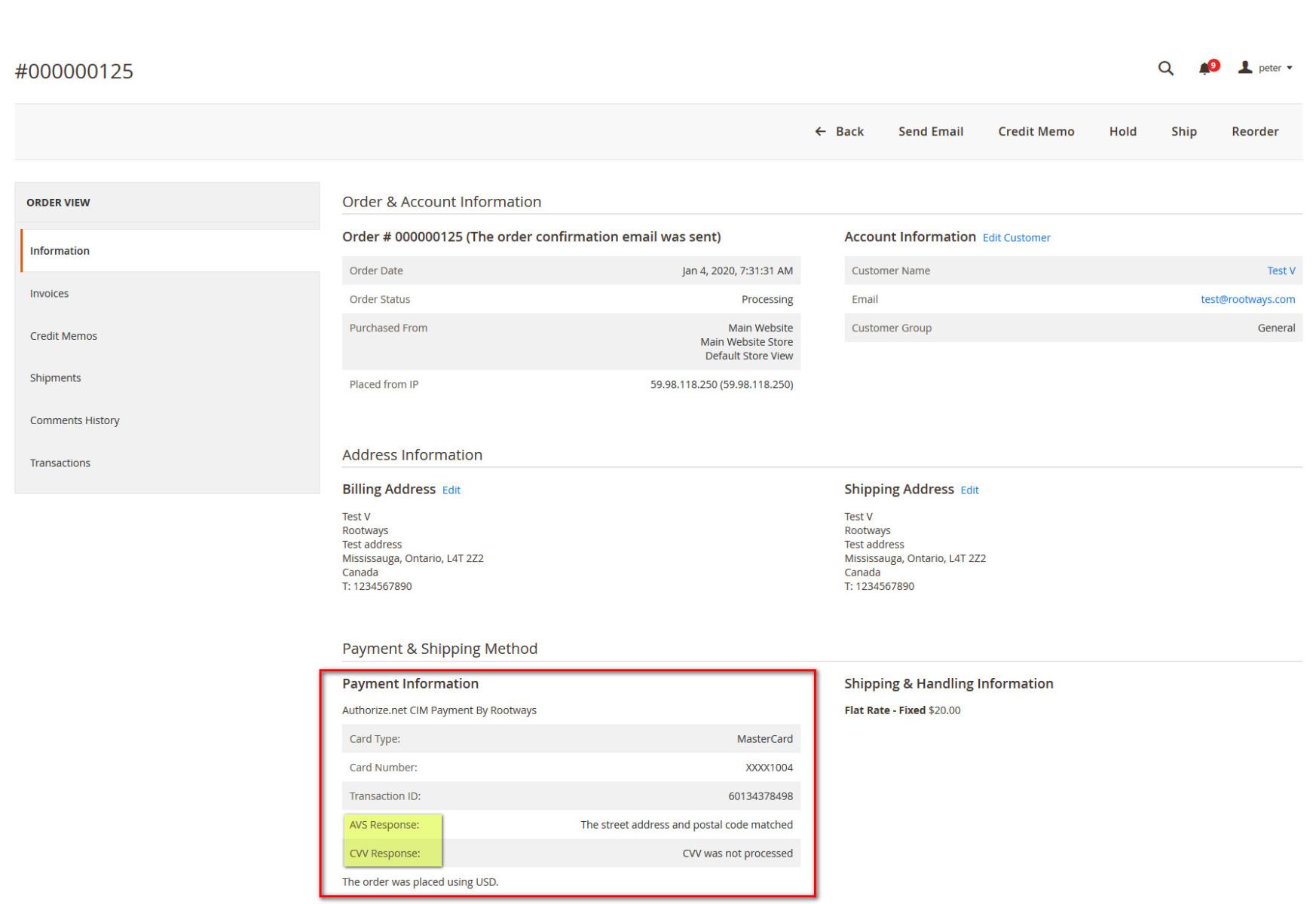 Authorize.net CIM Payment Extension