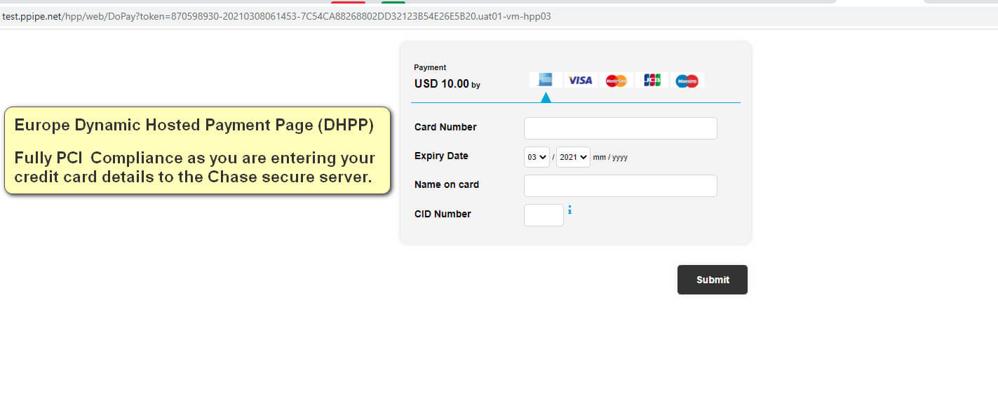 Magento 2 Chase Dynamic Hosted payment Page