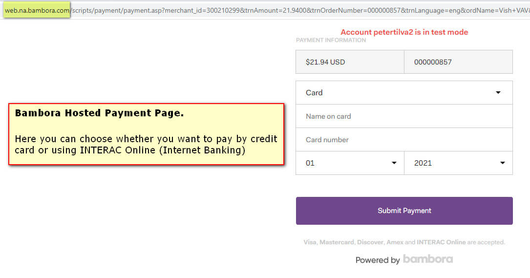Bambora Hosted Payment Page