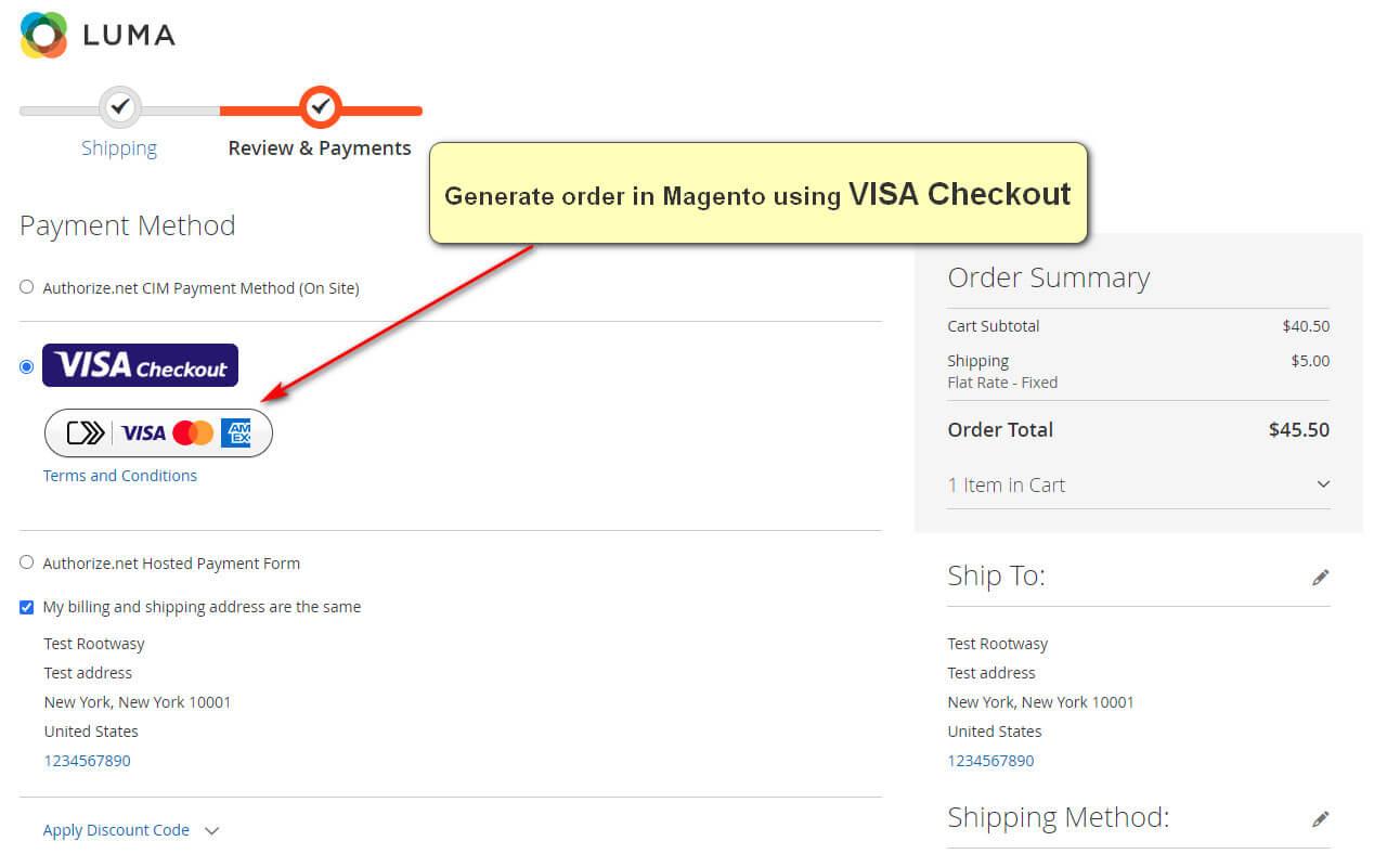Magento 2 VISA Checkout Payment