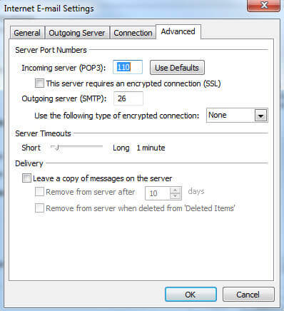 MS-Outlook 2007 cPanel