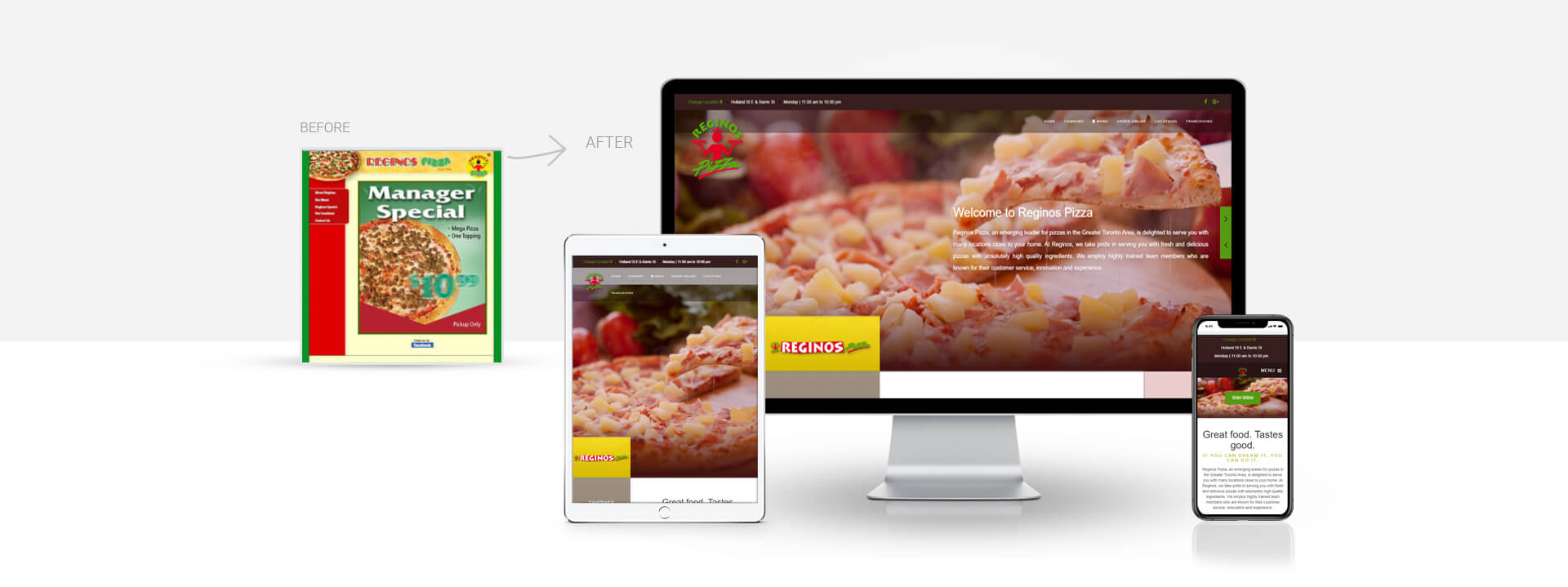 Custom pizza parlour website